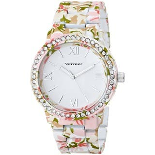 Vernier Women's 'Soft Touch' All Over Floral Stone Bezel Watch|https://ak1.ostkcdn.com/images/products/8887285/P16109872.jpg?impolicy=medium