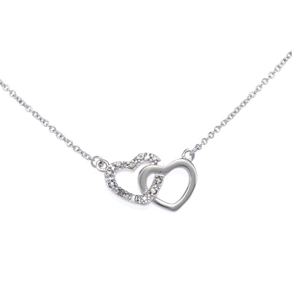Sterling silver plated 110ct tdw diamond double heart necklace j k sterling silver plated 110ct tdw diamond double heart necklace j k i2 mozeypictures Choice Image