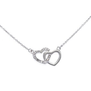 Sterling Silver Plated 1/10ct TDW Diamond Double Heart Necklace (J-K, I2-I3)