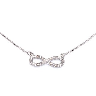 Sterling Silver Plated 1/10ct TDW Diamond Infinity Necklace (J-K, I2-I3)