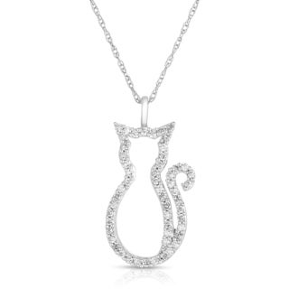 Eloquence 14k White Gold 1/4ct TDW Diamond 'Kitten' Cat Necklace
