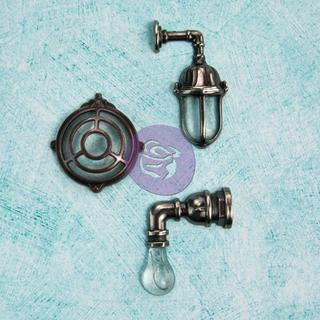 Junkyard Findings Metal Embellishments - Industrial Wall Lamps 3 Pieces