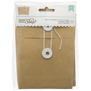 DIY Shop Cards W/Envelopes 12/Pkg - Kraft 4.25 X5.75 Security