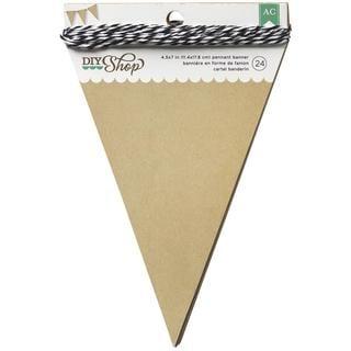 DIY Shop Banner 24pcs W/String - Kraft Pennant, 4.5 X7