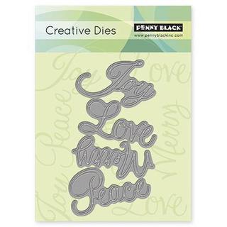 Penny Black Creative Dies - Love & Joy, 2.7 X4.8