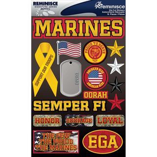 Signature Dimensional Stickers 4.5 X6  Sheet - Marines