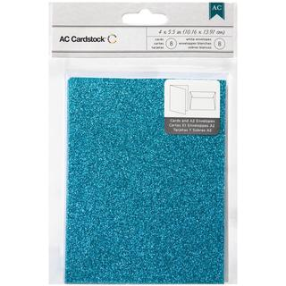 American Crafts A2 Cards & Envelopes (4.375 X5.75 ) 8/Pkg - Peacock Glitter