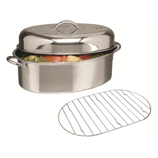 Gibson Home 16-inch Oval Roaster with Lid Rack