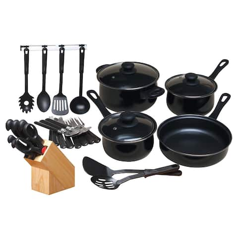 Gibson Home 32-piece Nonstick Cookware Set Black
