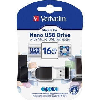 Verbatim 16GB Nano USB Flash Drive with USB OTG Micro Adapter - Black