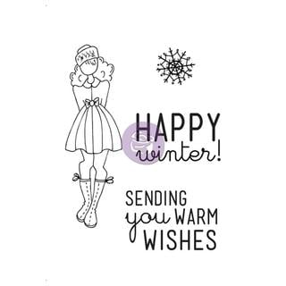 Mixed Media Doll Cling Rubber Stamps - Warm Wishes Set 4 X6