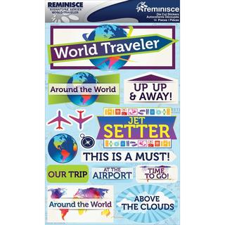 Signature Dimensional Stickers 4.5 X6  Sheet - World Traveler