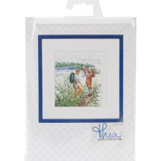 Hiking On Aida Counted Cross Stitch Kit - 6-1/4 X6-3/4 18 Count