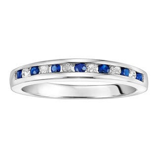 Sterling Silver 1/2ct TDW Sapphire and White Diamond Wedding Band (I-J, I2-I3)