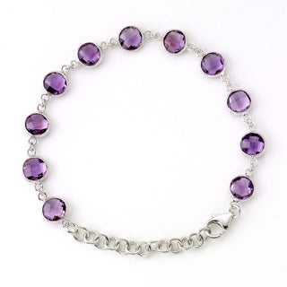 Soho Boutique by Neda Behnam 7-inch Sterling Silver Amethyst Station Bracelet with 2-inch extension