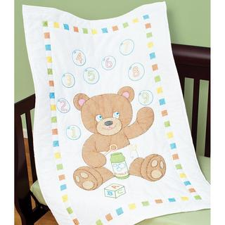 Stamped White Quilt Crib Top 40 X60 - Bear With Bubbles
