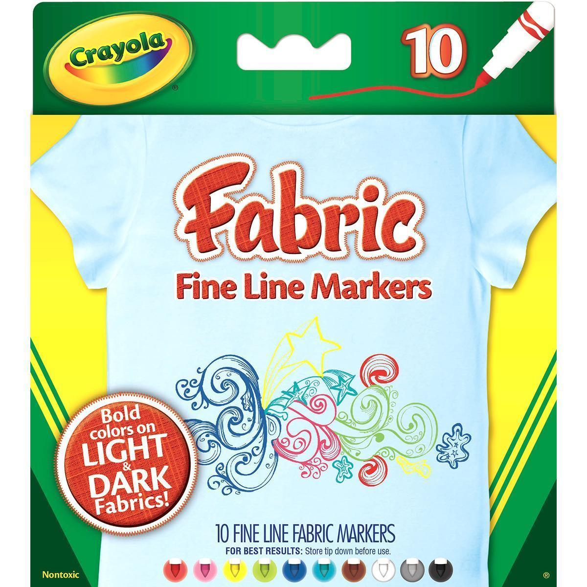 Assorted Colors Set of 10 Crayola Fabric Line Markers Fine Tip