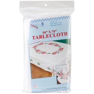 Stamped White Table Cloth 50 X70  - Poinsettias