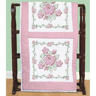 Stamped White Quilt Blocks 18 X18 6/Pkg - Rose Bouquet
