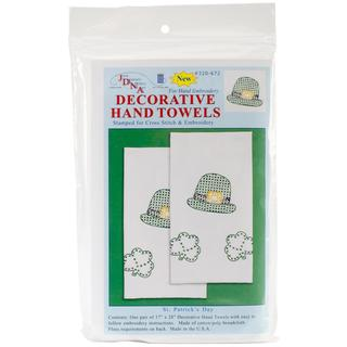 Stamped White Decorative Hand Towel 17 X28 One Pair - St. Patrick