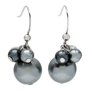 Alexa Starr Grey Cluster Top Faux Pearl Drop Earrings