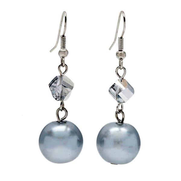 Alexa Starr Twisted Metallic Large Grey Dangle Faux Pearl Earrings
