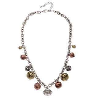 Alexa Starr Textured Burnished Tri-tone Silver Chain Necklace