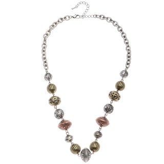 Alexa Starr Burnished Tri-tone Textured Bead Necklace