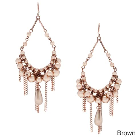 Alexa Starr Faux Pearl Chandelier Earrings with Burnished Chain Fringe