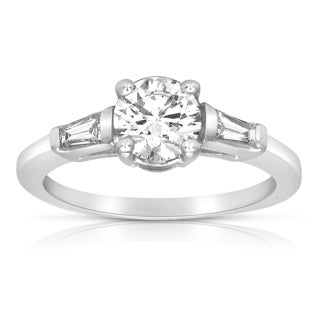 Eloquence 18k White Gold 1ct TDW Certified Round and Baguette Diamond Engagement Ring (H-I, SI1-SI2)