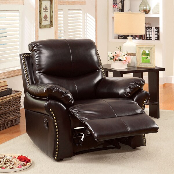 Furniture of America Dudley Bonded Leather Match Recliner with Nailhead Trim & Furniture of America Dudley Bonded Leather Match Recliner with ... islam-shia.org