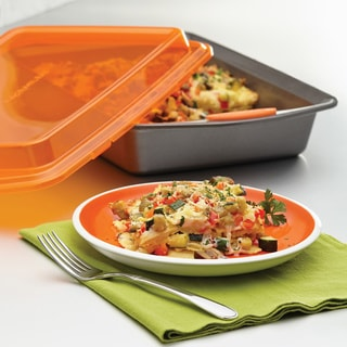Rachael Ray Nonstick Bakeware 9 x 13-inch Grey with Orange Lid and Handles Covered Cake Pan