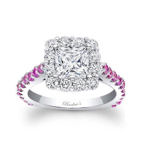 Barkev's Designer 14k White Gold 1 3/4ct TDW Diamond and Pink Sapphire Halo Ring