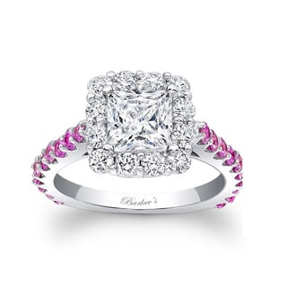Barkev's Designer 14k White Gold 1 3/4ct TDW Diamond and Pink Sapphire Halo Ring (F-G, SI1-SI2)