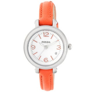 Fossil Women's 'Heather' Orange Leather Skinny Strap Watch