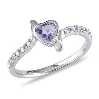 Miadora 14k White Gold Tanzanite and 1/10ct TDW Diamond Heart Ring (I-J, I2-I3)