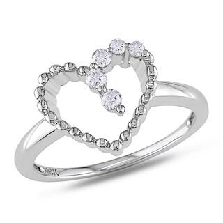 Miadora 14k White Gold 1/10ct TDW Diamond Heart Ring