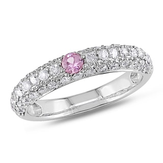 Miadora 14k White Gold 1 1/6ct TGW Pink and White Sapphire Ring