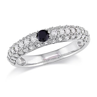 Miadora 14k White Gold 1/10ct TDW Black Diamond and White Sapphire Ring