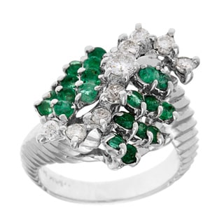 Pre-owned 14k White Gold 1/2ct TDW Emerald Swirl Estate Cocktail Ring (G-H, SI1-SI2)