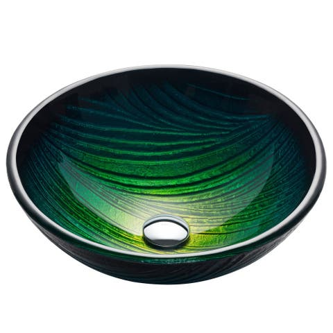 KRAUS GV-391-19mm Nature 17 Inch Round Glass Vessel Bathroom Sink in Green