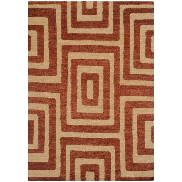 Safavieh Hand-knotted Santa Fe Modern Abstract Light Gold Wool Rug (4' x 6')