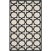 Safavieh Handmade Moroccan Cambridge Ivory/ Black Wool Rug - 8' x 10'