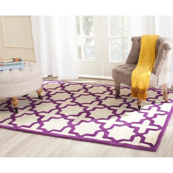 Safavieh Handmade Moroccan Cambridge Ivory/ Purple Wool Rug - 8' x 10'