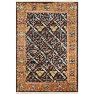 Safavieh Hand-knotted Peshawar Vegetable Dye Navy/ Gold Wool Rug (4' x 6')