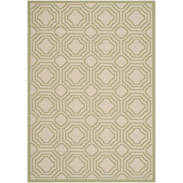 Safavieh Courtyard Beige/ Sweet Pea Indoor/ Outdoor Rug (6'7 x 9'6) - 6'7 x 9'6