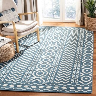 Safavieh Hand-woven Moroccan Reversible Dhurries Dark Blue/ Ivory Wool Rug (6' Square)