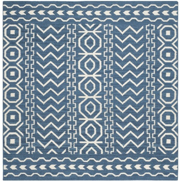 Safavieh Moroccan Blue And Black Area Rug: Shop Safavieh Hand-woven Moroccan Reversible Dhurries Dark