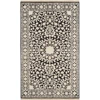 Safavieh Hand-knotted Ganges River Black/ Ivory Wool Rug - 4' x 6'