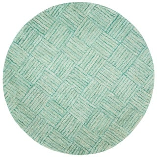 Safavieh Handmade Nantucket Abstract Green/ Multi Cotton Rug (6' x 6' Round)